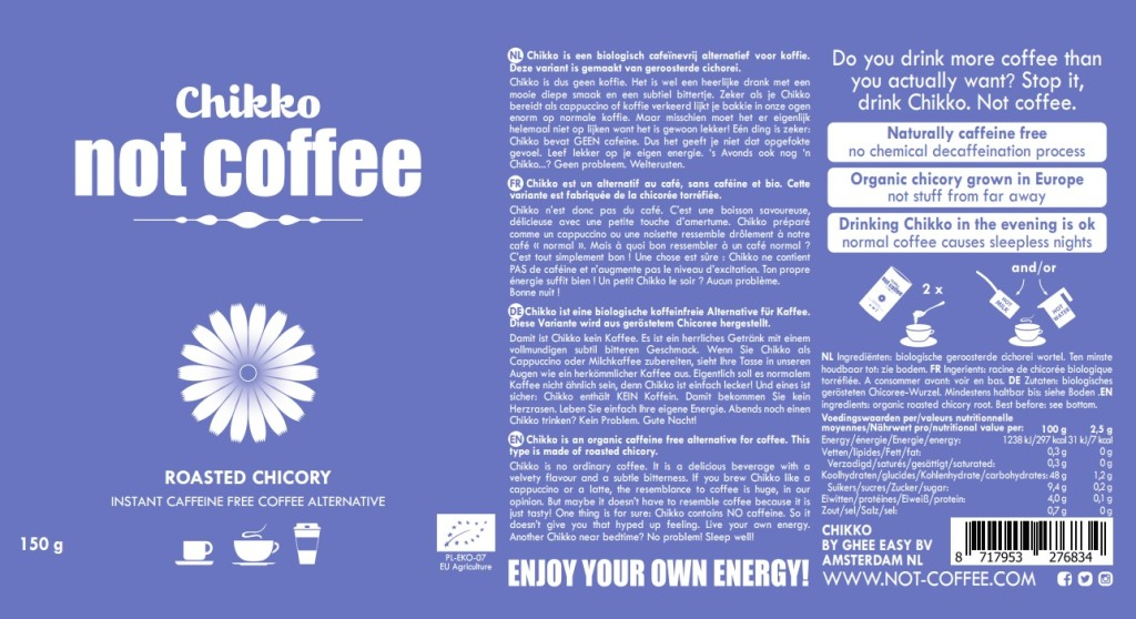 Chikko Not Coffee - Roasted Chicory LABEL DESIGN